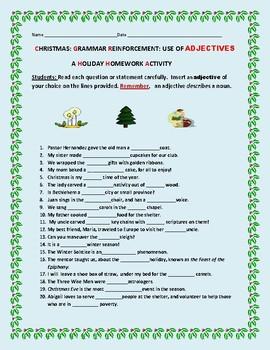 CHRISTMAS: A GRAMMAR HOMEWORK  ACTIVITY: ADJECTIVES
