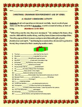 CHRISTMAS: A GRAMMAR HOMEWORK ACTIVITY: VERBS