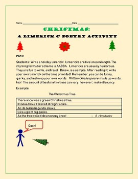 CHRISTMAS: A LIMERICK & POETRY ACTIVITY