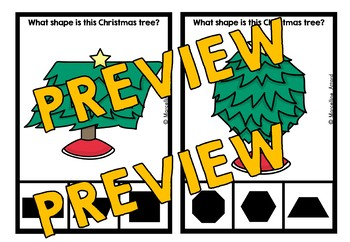 CHRISTMAS ACTIVITIES KINDERGARTEN (CHRISTMAS TREE SHAPES RECOGNITION CLIP CARDS)