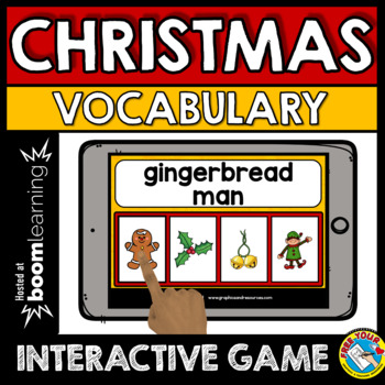 CHRISTMAS ACTIVITIES KINDERGARTEN (DECEMBER VOCABULARY GAME) BOOM CARDS ELA