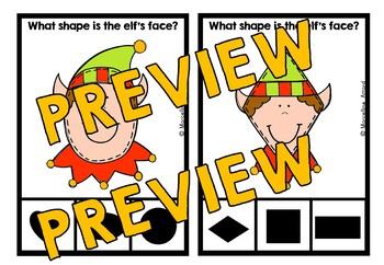 PRESCHOOL CHRISTMAS ACTIVITIES KINDERGARTEN (ELF SHAPES RECOGNITION CLIP CARDS)