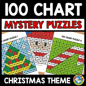 CHRISTMAS ACTIVITY KINDERGARTEN, 1ST GRADE (100 CHART MYSTERY PICTURE PUZZLES)