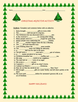 CHRISTMAS ADJECTIVE ACTIVITY