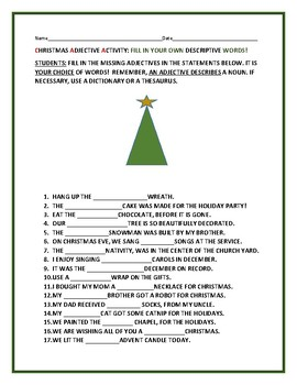 CHRISTMAS ADJECTIVES FUN ACTIVITY by HOUSE OF KNOWLEDGE AND KINDNESS