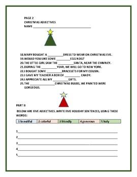 CHRISTMAS ADJECTIVES FUN ACTIVITY