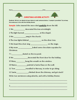CHRISTMAS ADVERB ACTIVITY