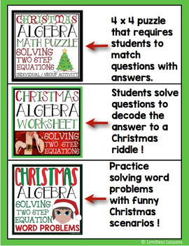 Christmas Algebra Solving Equations Activity Package By Limitless