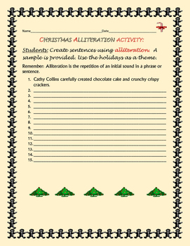 CHRISTMAS ALLITERATION ACTIVITY