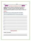 CHRISTMAS ALLITERATION ACTIVITY: CREATING SENTENCES, GRADES 3-6. ESL