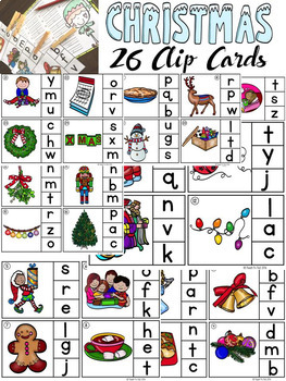 CHRISTMAS: ALPHABET CLIP-IT CARDS