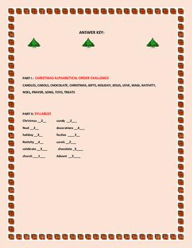 CHRISTMAS ALPHABETICAL & SYLLABLES ACTIVITY
