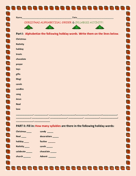 CHRISTMAS ALPHABETICAL & SYLLABLES ACTIVITY