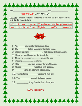 CHRISTMAS AND NOUNS- A Holiday Grammar Activity