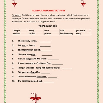 CHRISTMAS ANTONYM ACTIVITY