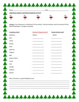 CHRISTMAS ANTONYM SYNONYM ACTIVITY