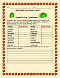 CHRISTMAS: ANTONYMS ACTIVTY.