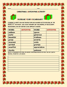 CHRISTMAS: ANTONYMS ACTIVTY