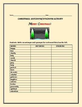 CHRISTMAS ANTONYMS  & SYNONYMS