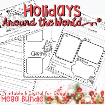 CHRISTMAS HOLIDAYS AROUND THE WORLD ACTIVITIES, RESEARCH,SCRAPBOOK, AND MORE