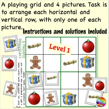 Printable CHRISTMAS Math Activities SUDOKU Puzzle BUNDLE Teach Logical Thinking
