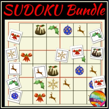 graphic regarding Christmas Sudoku Printable called Printable Xmas Math Functions SUDOKU Puzzle Package deal Practice Rational Pondering