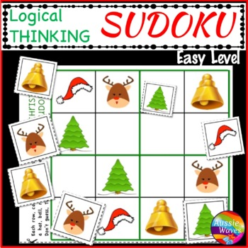 CHRISTMAS Math Activities Kindergarten SUDOKU Puzzles Logical Thinking Easy