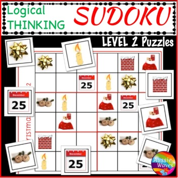CHRISTMAS Activities Teach Logical Thinking with SUDOKU Level 2