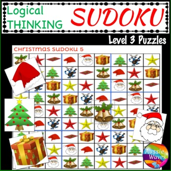 CHRISTMAS Activities Teach Logical Thinking with SUDOKU Level 3