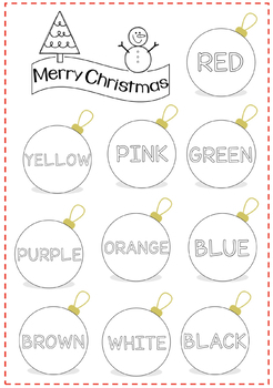 CHRISTMAS ORNAMENTS- COLOURS- VOCABULARY. Poster/ colouring page/ flashcards