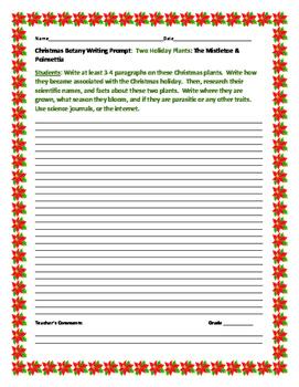 CHRISTMAS BOTANY WRITING PROMPT