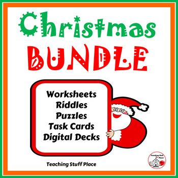 CHRISTMAS BUNDLE ⭐ Math and Language Worksheets Task Cards $$$ Gr. 3-4-5