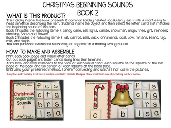 CHRISTMAS Beginning Sounds Interactive Book #2