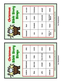 CHRISTMAS Bible Story Bingo - Easy 4x4-Block Format