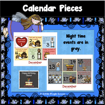CHRISTMAS CALENDAR PIECES THAT TELL THE STORY OF JESUS' BIRTH for Preschoolers