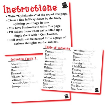 CHRISTMAS CAROL Journal - Quickwrite Writing Prompts - PowerPoint