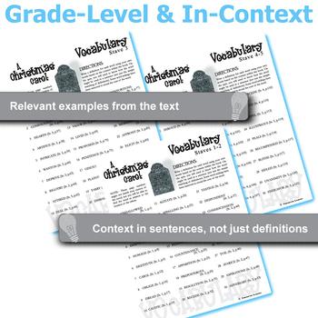 A CHRISTMAS CAROL Vocabulary List and Quiz (30 words, Staves 1-2)