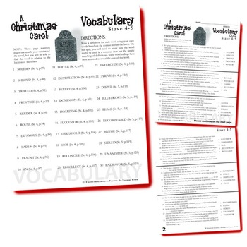 A CHRISTMAS CAROL Vocabulary List and Quiz (30 words, Staves 4-5)