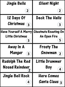 Christmas Carols - Card Game Printable