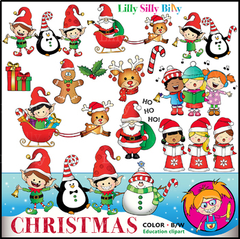 CHRISTMAS CHEER Clipart. BLACK AND WHITE & Color Bundle. {Lilly Silly Billy}