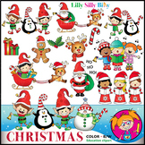 CHRISTMAS CHEER Clipart. BLACK AND WHITE & Color Bundle. {