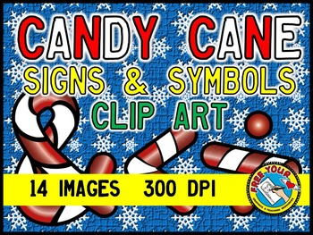 CHRISTMAS CLIP ART - CANDY CANE SIGNS & SYMBOLS + - ÷ × = < > , .  ? ! & $ ¢