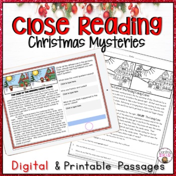 CHRISTMAS CLOSE READING MYSTERY PASSAGES COMPREHENSION PRACTICE