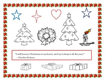 CHRISTMAS COLORING PAGE/ W QUOTE
