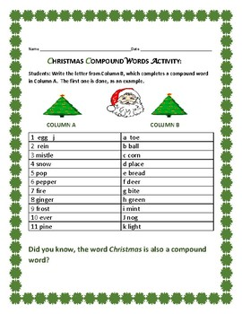 CHRISTMAS COMPOUNDS: A WORD ACTIVITY: GRADES 3-6