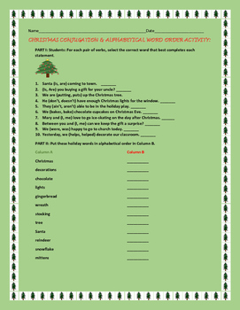 CHRISTMAS CONJUGATION & ALPHABETICAL ORDER ACTIVITY