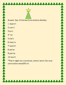 CHRISTMAS CONTRACTIONS ACTIVITY