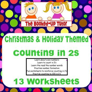 CHRISTMAS COUNTING IN 2's 13 Fun Worksheets & Cards Catch up/Remedial