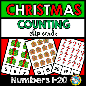 CHRISTMAS COUNTING TO 20 TASK CARDS (KINDERGARTEN MATH CENTERS)