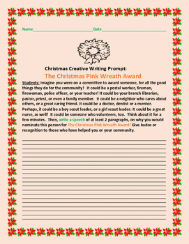 CHRISTMAS CREATIVE WRITING PROMPT: THE CHRISTMAS PINK WREATH AWARD